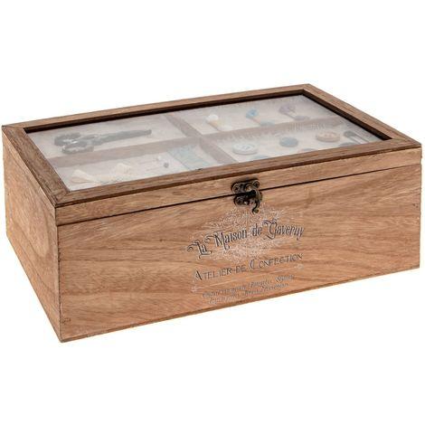 Boîte à couture en bois Atelier d'hivers - L. 30 x H. 10 cm - Marron - Marron