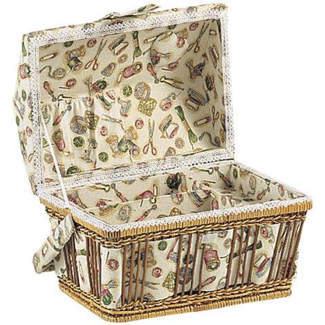 Boîte à couture en fougère et coton - Dim : 28 x 20 x 19 cm