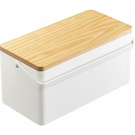 Boîte à couture en métal et bois Tower - Blanc