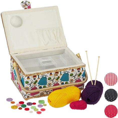 Boîte à couture, sans contenu, entoilage amovible, couvercle, portable, design coloré, panier, colorée