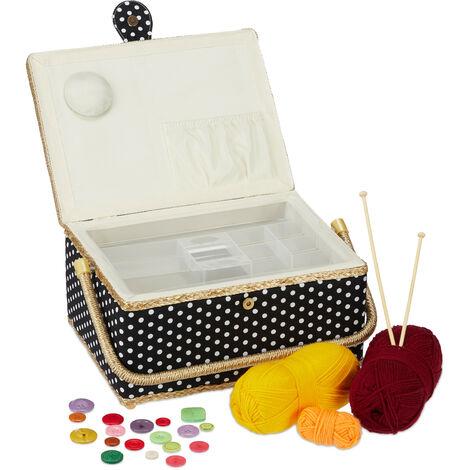 Boîte à couture, sans contenu, entoilage amovible, couvercle, portable, design coloré, panier, noir /blanc