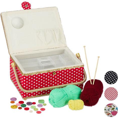 Boîte à couture, sans contenu, entoilage amovible, couvercle, portable, design coloré, panier, rouge/blanc