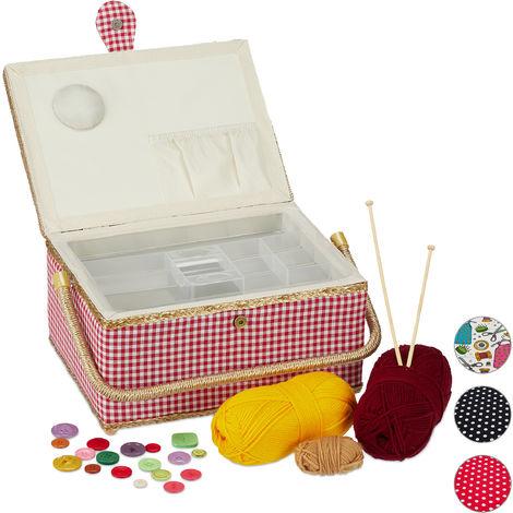 Boîte à couture, sans contenu, entoilage amovible, couvercle, portable, design coloré, panier, rouge /blanc