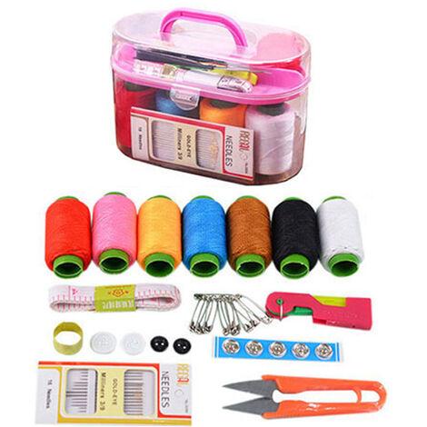 Boîte à couture universelle, kit de couture, bobines de fil à coudre, fils à broder tout usage sur rouleaux et bobines dans une boîte en plastique