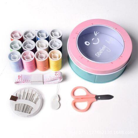 Boîte à couture universelle kit de couture bobines de fil à coudre fils à broder tout usage sur rouleaux et bobines dans une boîte en plastique