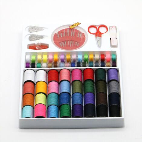 Boîte à couture universelle, kit de couture, bobines de fil à coudre, fils à broder tout usage sur rouleaux et bobines dans une boîte en plastique Mini