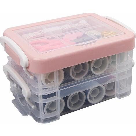 Boîte à couture universelle, kit de couture, bobines de fil à coudre, fils à broder tout usage sur rouleaux et bobines dans une boîte en plastique Trois couches
