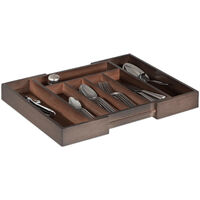 Boîte à Couverts Tiroir, Extensible, Largeur Variable, 5-7 Casiers, Organiseur Bambou, 5,5x48,5x37cm, Marron