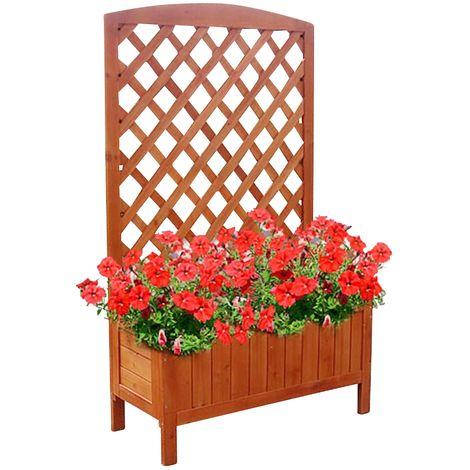 Boite à fleurs en bois avec treillis rose seau