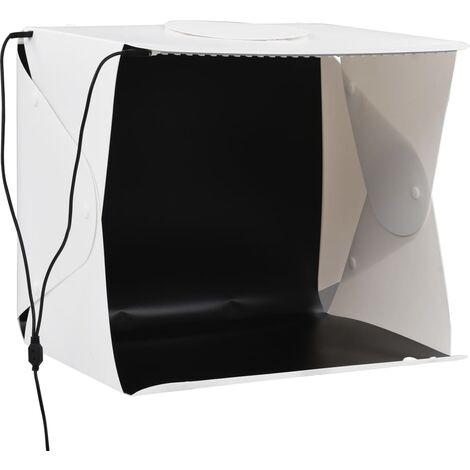 Boîte à lumière studio LED pliable 40x34x37 cm Plastique Blanc