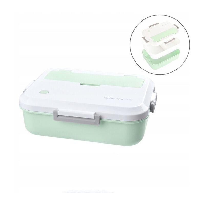 Boîte à bento Boîte de rangement pour aliments Accessoires de cuisine Boîte à lunch à trois grilles (vert) 23 * 17cm