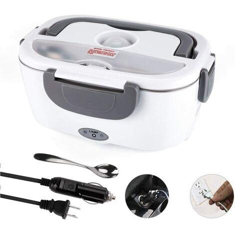 Boîte à lunch électrique pour voiture et maison 110V et 12V 40W, chauffe-plat portable en acier inoxydable 1.5L, cuillère et fourchette en acier inoxydable et 2 compartiments inclus