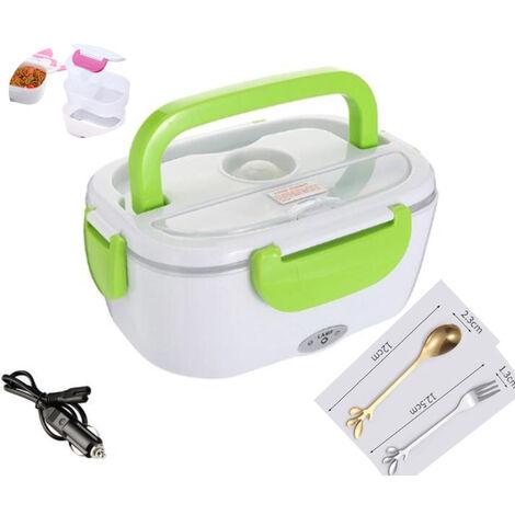 Boîte à lunch électrique pour voiture et maison, bureau-12V-24V/110V 40W chauffe-aliments portable, boîte à lunch chauffante pour hommes et adultes avec récipient en acier inoxydable de qualité alimentaire 1.5L, 1 fourchette et 1 cuillère-gris