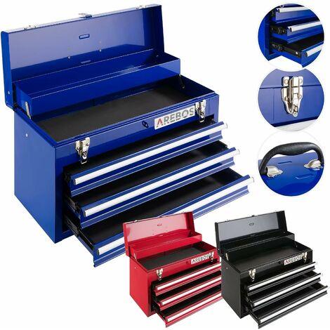 AREBOS  Boîte à Outils 3 Tiroirs Bleu - blau