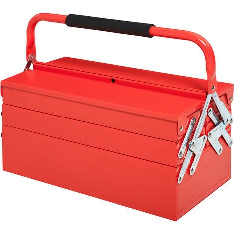 """main image of """"Caisse à outils métallique 3 niv. 5 plateaux rétractables tôle acier rouge"""""""