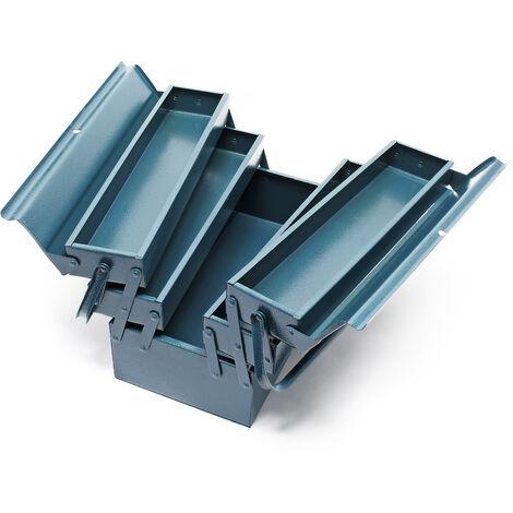 Boite à outils vide 420x200x200 mm en Acier avec 5 Compartiments Caisse pour outils avec Poignée