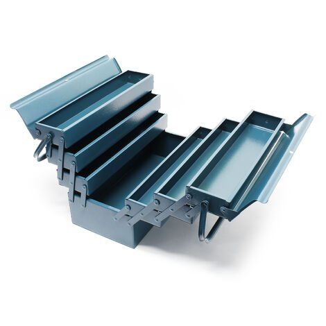 Boite à outils vide 420x200x250 mm en Acier avec 7 Compartiments Caisse pour outils avec Poignée