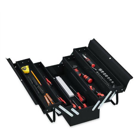 Boîte à outils vide, 5 compartiments; avec poignée, métal, verrouillable, caisse, HlP 21 x 53 x 20 cm, noire