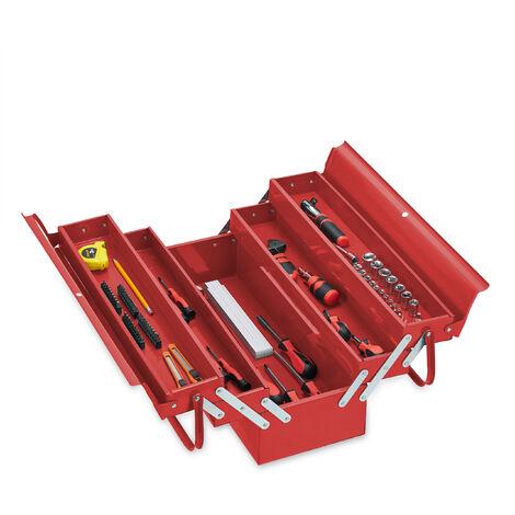Boîte à outils vide, 5 compartiments; avec poignée, métal, verrouillable, caisse, HlP 21 x 53 x 20 cm, rouge