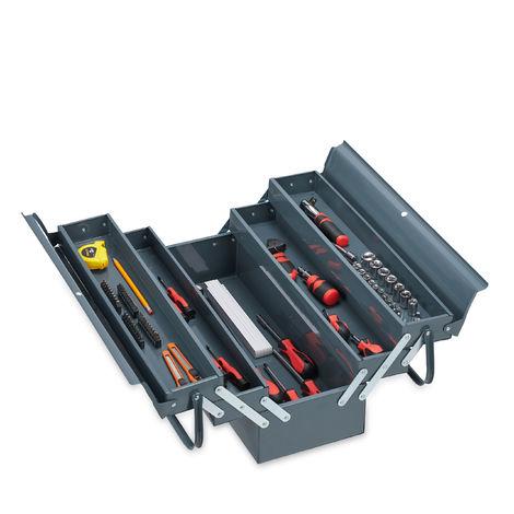 Boîte à outils vide, 5 compartiments; avec poignée, métal, verrouillable, caisse, HlP 21 x 53 x 20 cm,grise