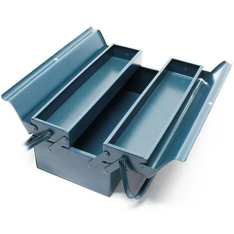 Boite à outils vide 530x200x160 mm en Acier avec 3 Compartiments Caisse pour outils avec Poignée