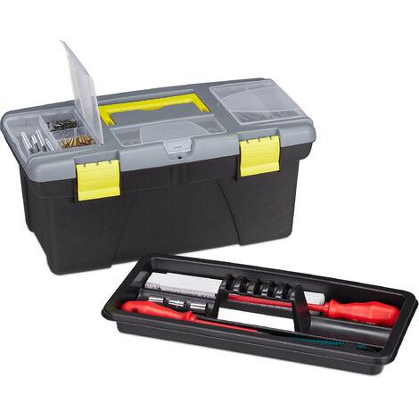 Boîte à outils vide, en plastique, caisses à accessoires pour pros & bricoleurs, 19 x 41 x 21 cm, gris-jaune