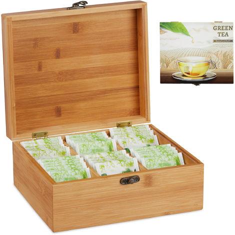 Boîte à thé bambou, coffret, 72 sachets thé, couvercle, 6 compartiments, HxlxP: 9,5 x 22 x 18,5 cm, nature