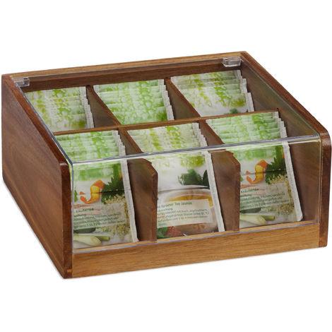 Boîte à thé bois acacia, coffret 90 sachets thé, couvercle, 6 compartiments, HxlxP: 9,5 x 22 x 20,5 cm, nature