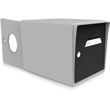 bo te aux lettres 2 portes noir uni gris sgdgr nr. Black Bedroom Furniture Sets. Home Design Ideas