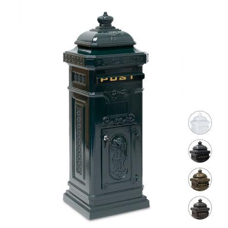 Boîte aux lettres anglaise sur pied en alu colonne vintage nostalgie, design british, vert