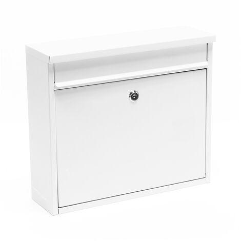 Boite aux lettres Boite postale Murale Design Blanche Revêtement par poudre Courrier V13