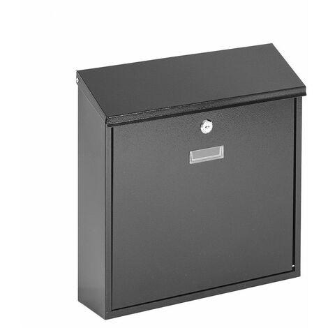 Boîte aux Lettres / Boîte Postale Murale Verrouillable Étanche - 2 Clés (Noir) - Noir