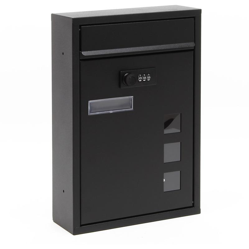 boite aux lettres moderne noire avec serrure combinaison boite murale rev tement en poudre 60031. Black Bedroom Furniture Sets. Home Design Ideas