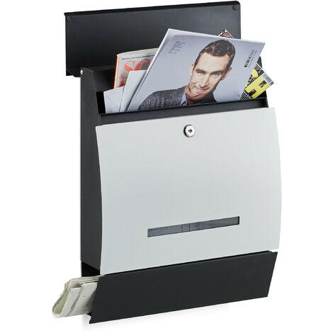 Boîte aux lettres murale avec compartiment journaux design moderne DIN-A4 HxlxP: 45 x 35 x 11 cm, noir-blanc