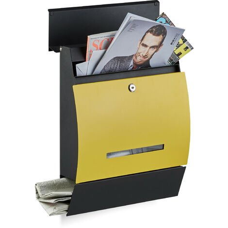 Boîte aux lettres murale avec compartiment journaux design moderne DIN-A4 HxlxP: 45 x 35 x 11 cm, noir-jaune