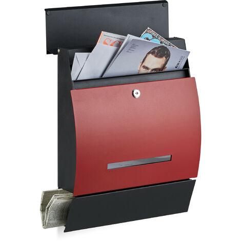 Boîte aux lettres murale avec compartiment journaux design moderne DIN-A4 HxlxP: 45 x 35 x 11 cm, noir-rouge