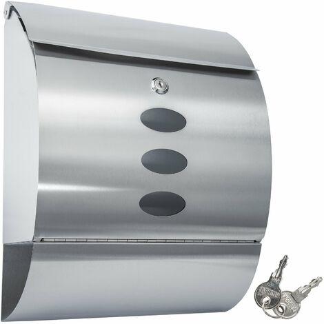 Boite aux lettres Murale en Acier Inoxydable Revêtement Protecteur + Compartiment journaux 300 mm x 120 mm x 395 mm Gris