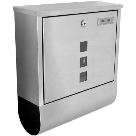 Boite aux Lettres Murale en Acier Inoxydable Revêtement Protecteur + Compartiment Journaux 310 mm x 105 mm x 340 mm Gris