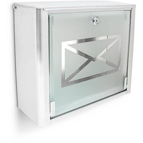 Boîte aux lettres murale en Inox avec porte en verre opal motif enveloppe 30,5 x 35,5 x 14 cm, gris argenté