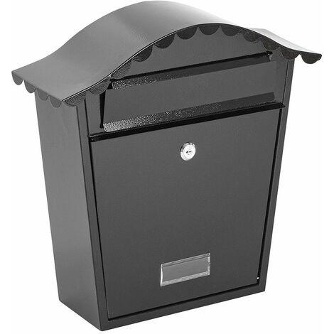 Boîte aux Lettres Murale Étanche, Verrouillable et Sécurisée - 2 Clés (Noir) - Noir