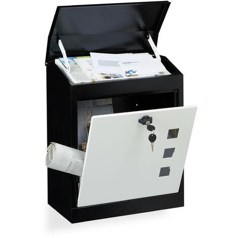 Boîte aux lettres murale grande XL pour paquet avec clapet sécurité avec clés HxlxP: 53 x 43,5 x 26 cm, noir-blanc