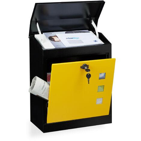 Boîte aux lettres murale grande XL pour paquet avec clapet sécurité avec clés HxlxP: 53 x 43,5 x 26 cm, noir-jaune