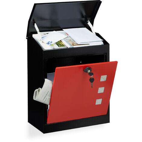 Boîte aux lettres murale grande XL pour paquet avec clapet sécurité avec clés HxlxP: 53 x 43,5 x 26 cm, noir-rouge