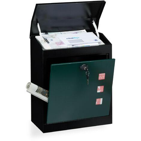 Boîte aux lettres murale grande XL pour paquet avec clapet sécurité avec clés HxlxP: 53 x 43,5 x 26 cm, noir-vert