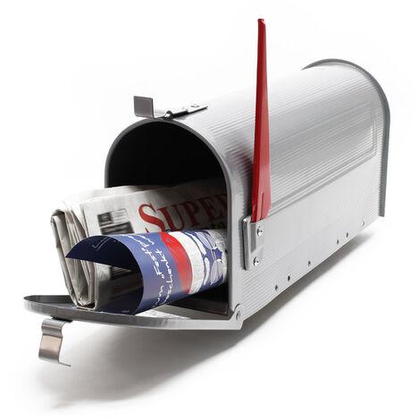 Boite aux lettres Style américain Design Couleur argenté Boite postale sur pied US Mailbox
