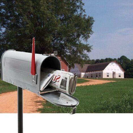 Boîte Aux Lettres Style Américaine, Avec Pied Support, Argentée - Argentée