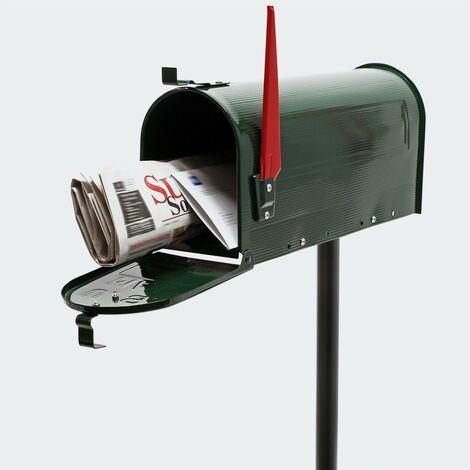Boîte aux lettres style américaine. Verte. Avec Pied Support. - Vert