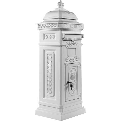 Boîte aux lettres sur pied, style antique anglais, aluminium inox, hauteur: 102,5 cm, coloris : blanc, garantie: 3 ans