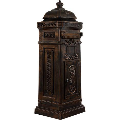Boîte aux lettres sur pied, style antique anglais, aluminium inox, hauteur: 102,5 cm, coloris : bronze, garantie: 3 ans