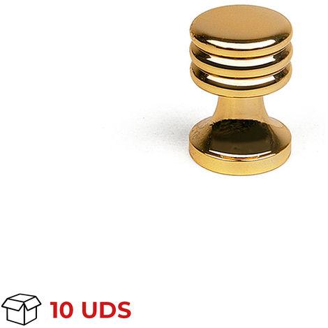 Boîte avec 10 Bouton de style décoratif, en laiton, finition dorée et diamètre de 15 mm.